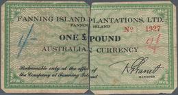 Australia / Australien: Fanning Islands Left And Right Half Of The 1 Pound ND(1942), P.NL (SB1541) W - Australia