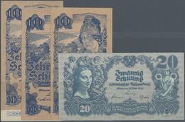 Austria / Österreich: Set Of 4 Notes Containing 10 Schilling (2nd Issue) 1945 (VF) P. 114, 2x 10 Sch - Austria