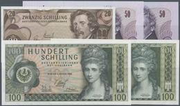 Austria / Österreich: Set Of 5 Notes Containing 20 Schilling 1967 P. 142, 50 Schilling 1970 (1st And - Austria