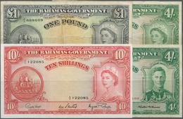 Bahamas: Set Of 4 Banknotes Containing 4 Shillings L.1936 P. 9b (F+), 4 Shillings L.1936 (1953) P. 1 - Bahamas