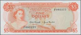 Bahamas: Bahamas Monetary Authority 5 Dollars L.1968, P.29a, Soft Vertical Bend At Center And Tiny D - Bahamas