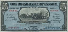 Barbados: The Royal Bank Of Canada 20 Dollars (equals 4 Pounds 3 Shillings 4 Pence) January 2nd 1920 - Barbados