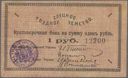 Belarus: City Of Slutsk - Sluzk, 1 Ruble 1918, Vertical Fold, P.NL (R 19997). Condition XF. - Belarus