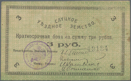 Belarus: City Of Slutsk - Sluzk, 3 Rubles 1918, Folds, Hole In The Middle, P.NL (R 19998a). Dark Gre - Belarus