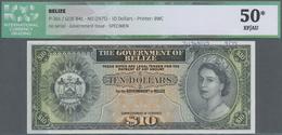 Belize: Government Of Belize 10 Dollars ND(1975) SPECIMEN, P.36s, Printers Annotations At Upper Marg - Belize