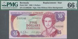 "Bermuda: Group Of 5 Banknotes 5 Dollars 1989 REPLACEMENT, P.35b With Prefix ""Z"" In UNC Condition, Al - Bermudas"