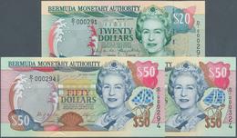 Bermuda: Set Of 3 Notes Containing 20 Dollars 2000 And 2x 50 Dollars 2000 P. 53, 54, All In Conditio - Bermudas