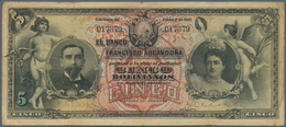 Bolivia / Bolivien:  Banco Francisco Argandoña 5 Bolivianos 1907, P.S150, Lightly Stained Paper With - Bolivia