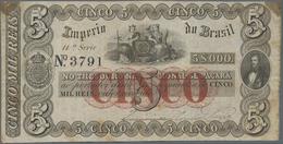 Brazil / Brasilien: Imperio Do Brasil 5 Mil Reis ND(1860), P.A237, Very Nice And Original Shape, Tra - Brazil