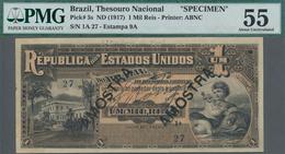 Brazil / Brasilien: Thesouro Nacional 1 Mil Reis ND(1917) SPECIMEN, P.5s, Lightly Yellowed Paper, Pr - Brazil