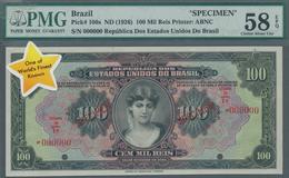 Brazil / Brasilien: Estados Unidos Do Brasil 100 Mil Reis ND(1926) SPECIMEN, P.106s, Tiny Dint At Up - Brazil