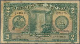 British Guiana / Britisch Guayana: 2 Dollars 1938 P. 13b, Seldom Seen Note In Used Condition, With S - Guyana