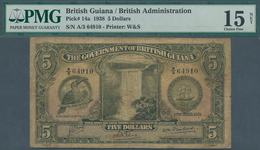 British Guiana / Britisch Guayana: 5 Dollars 1938 P. 14a, Rare Note, PMG Graded 15 Choice Fine Net. - Guyana