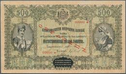 Bulgaria / Bulgarien: 500 Leva ND(1920) Specimen P. 32s, Rare Note, Never Folded, No Holes Or Tears, - Bulgaria