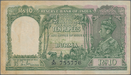 Burma / Myanmar / Birma: 10 Rupees ND Portrait KGIV P. 5 In Lightly Used Condition With Light Folds - Myanmar