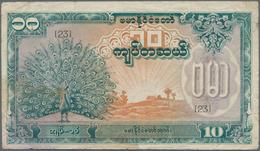 Burma / Myanmar / Birma: Japanese Puppet Bank Of Burma 10 Kyats ND(1944), P.20a, Highly Rare Banknot - Myanmar