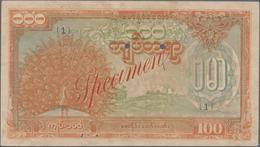 Burma / Myanmar / Birma: Japanese Puppet Bank Of Burma 100 Kyats ND(1944) SPECIMEN, P.21s1, Complete - Myanmar