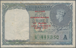 """Burma / Myanmar / Birma: Lot With 4 Banknotes 1, 5, 10 And 100 Rupees ND(1945), All With Overprint """" - Myanmar"""