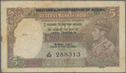 Burma / Myanmar / Birma: 5 Rupees ND Portrait KGIV P. 26a, Sign. Taylor, Usual Larger Pinhole At Lef - Myanmar