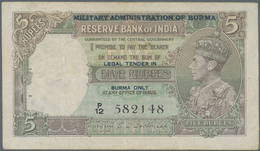 Burma / Myanmar / Birma: Set Of 2 Notes 5 Rupees ND Portrait KGIV P. 26b, The First With Only 2 Rust - Myanmar