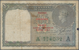 """Burma / Myanmar / Birma: Lot With 4 Banknotes 1, 5, 10 And 100 Rupees ND(1947), All With Overprint """" - Myanmar"""
