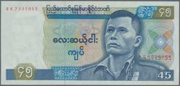Burma / Myanmar / Birma: 45 Kyats ND(1987), P.64 In AUNC/UNC Condition Without Pinholes. - Myanmar