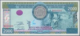 Burundi: 2000 Francs 2001 Specimen P. 41s, 3 Light Bends In Paper, Condition: XF. - Burundi