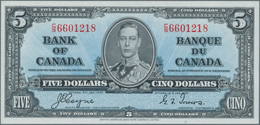 Canada: 5 Dollars 1937 P. 60c, Light Dint At Right, Otherwise Crisp Original, Condition: AUNC. - Canada