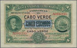 Cape Verde / Kap Verde: Banco Nacional Ultramarino 5 Escudos Overprint On 1 Escudo 1921, P.33, Still - Cape Verde