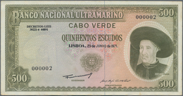 Cape Verde / Kap Verde: 500 Escudos 1971, P.53A With Serial Number 000002, Some Minor Spots, Dint At - Cape Verde