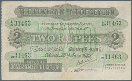Ceylon: 2 Rupees 1935 P. 21b, Pressed But Still Strongness In Paper, Vertical And Horizontal Folds, - Sri Lanka