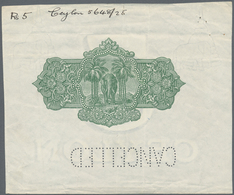 Ceylon: Vignette Proof For The Back Side Of 5 And 10 Rupees P. 22p And 24p On Watermarked Paper With - Sri Lanka