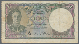 Ceylon: Set Of 3 Notes 1 Rupee Dated 2x 1941 And 1xs 1945 P. 30, 34, All Used With Folds And Stain I - Sri Lanka