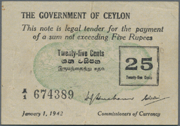 Ceylon: Nice Group With 3 Banknotes 5 Rupees 1941 P.32 (F), 10 Rupees 1941 P.36A (F+) And 25 Cents 1 - Sri Lanka