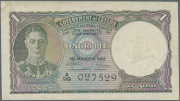 Ceylon: Set Of 2 Notes 1 Rupee 1949 P. 34, Both With Light Folds In Paper, One With One Rusty Pinhol - Sri Lanka