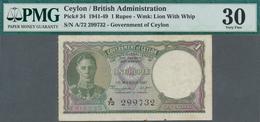 Ceylon: 1 Rupee 1947, P.34, Rusty Spots And Tiny Margin Split, PMG Graded 30 Very Fine - Sri Lanka