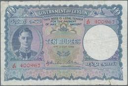 Ceylon: Government Of Ceylon 10 Rupees July 12th 1944, P.36Aa, Small Border Tears, Tiny Holes At Cen - Sri Lanka