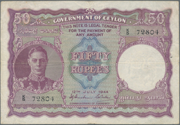 Ceylon: Government Of Ceylon 50 Rupees July 12th 1944, P.37a, Still Nice And Rare Banknote With Two - Sri Lanka