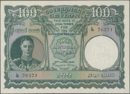Ceylon: Government Of Ceylon 100 Rupees June 24th 1945, P.38a, Highly Rare And Hard To Get Banknote, - Sri Lanka