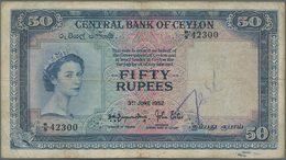Ceylon: 50 Rupees 1952, P.52, Rare Banknote, Small Graffiti At Lower Center On Front And Lightly Ton - Sri Lanka