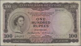 Ceylon: 100 Rupees 1954, P.53, Very Popular Banknote In Good Condition With A Few Folds And Creases - Sri Lanka