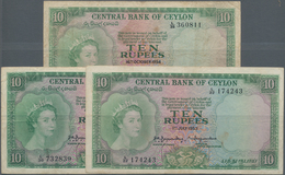 Ceylon: Nice Lot With 3 Banknotes 10 Rupees July 1st 1953 (2 Pcs. In F/F+) And October 16th 1954 (F- - Sri Lanka