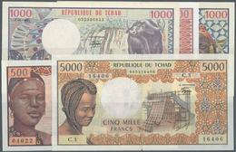 Chad / Tschad: Republique Du Tchad, Set With 5 Banknotes Comprising 500 Francs 1970's P.2a In VF+, 1 - Chad