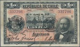 Chile: Nice Set With Republica De Chile 1 Peso 1919 P.15b (VF) And 1000 Pesos Banco Central De Chile - Chile