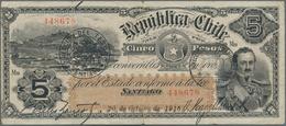 Chile: Republica De Chile 5 Pesos 1916, P.18b, Great Original Shape And Rare Early Issue, Tiny Margi - Chile