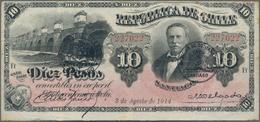 Chile: Republica De Chile 10 Pesos 1914, P.21b, Beautiful Banknote, Still In Good Condition With Bri - Chile