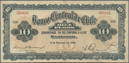 Chile: Banco Central De Chile 10 Pesos 1928, P.83b, Very Nice With A Few Soft Folds Only. Condition: - Chile