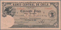 Chile: Banco Central De Chile 50 Pesos 1928, P.84b, Very Rare And Seldom Offered Note In Excellent C - Chile