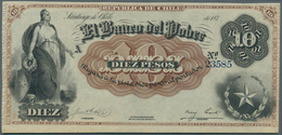 Chile: El Banco Del Pobre 10 Pesos 187x P. S363r, Remainder, Very Light Center Bend, Otherwise Perfe - Chile