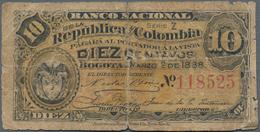 Colombia / Kolumbien: Set With 3 Banknotes 10 Centavos 1888 Banco Nacional P.211 (VG), 1 Peso 1915 B - Colombia